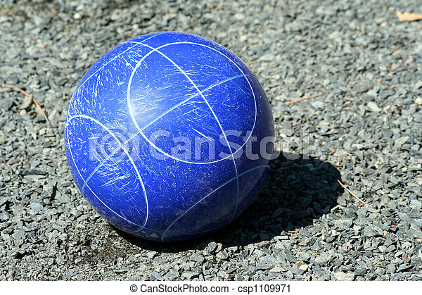 Close up of a blue bocce ball - csp1109971