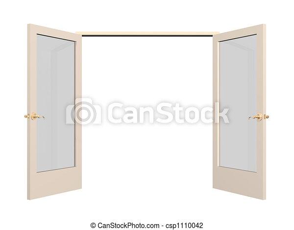 Open 3d door with glass inserts - csp1110042