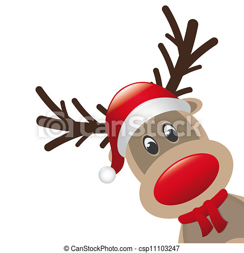 Drawing of reindeer red nose santa claus hat - reindeer red nose scarf ...