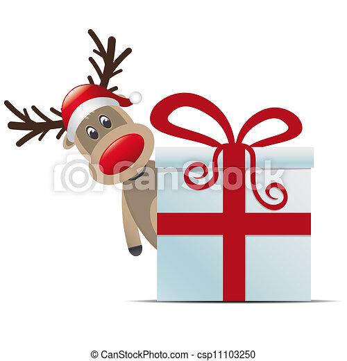 reindeer christmas gift box red ribbon - csp11103250