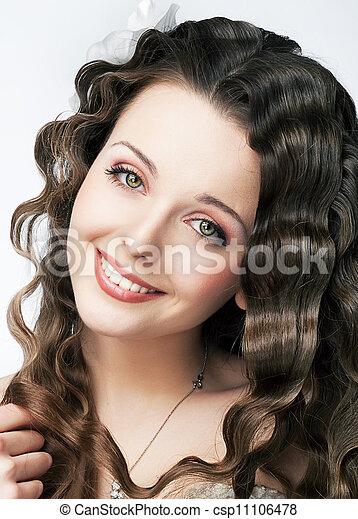 mulher, beleza, Maquilagem, jovem, cabelo, bonito, sorrizo, fresco - csp11106478