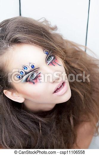 Artistico, bellezza, donna, dipinto, faccia, -, corpo, pittura - csp11106558