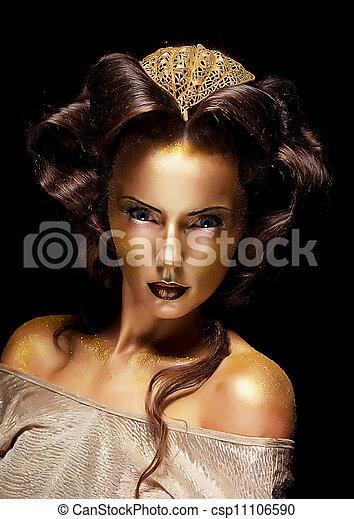 mulher, dourado, dourado, rosto, -, teatro, luxo, Fazer, cima - csp11106590