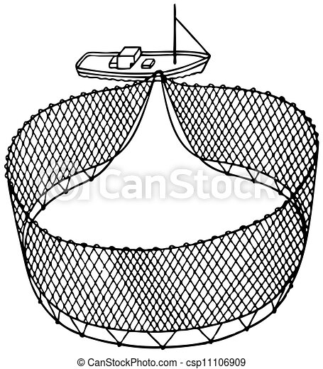 Vector Clipart of Boat fishnet - Big boat fishnet and little boat csp11106909 - Search Clip Art ...