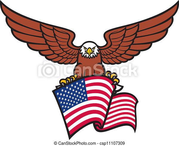Vector - eagle with USA flag  Eagle With Flag Clip Art