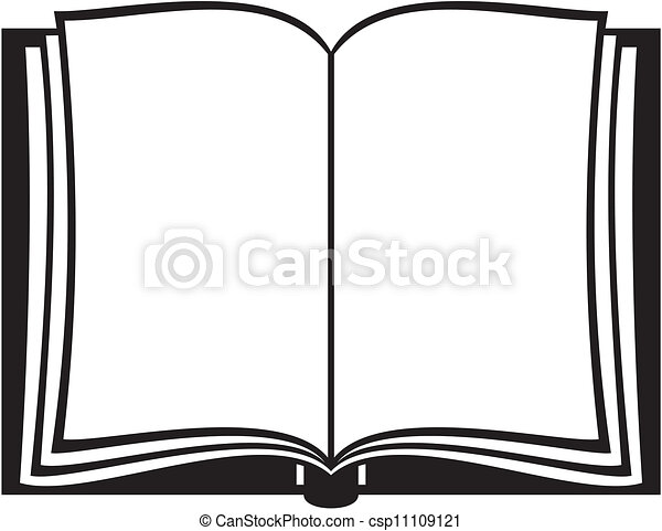 Open Book Line Drawing Vector Illustra...