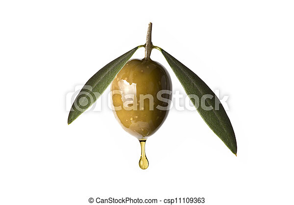 Green olive with a drop of oil falling. - csp11109363