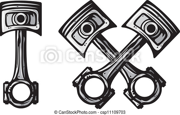 Crossed Pistons Drawing Crossed Engine Pistons