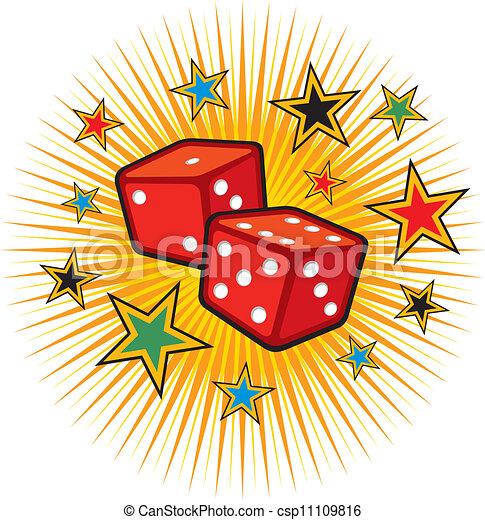 red dices design (gambling) - csp11109816