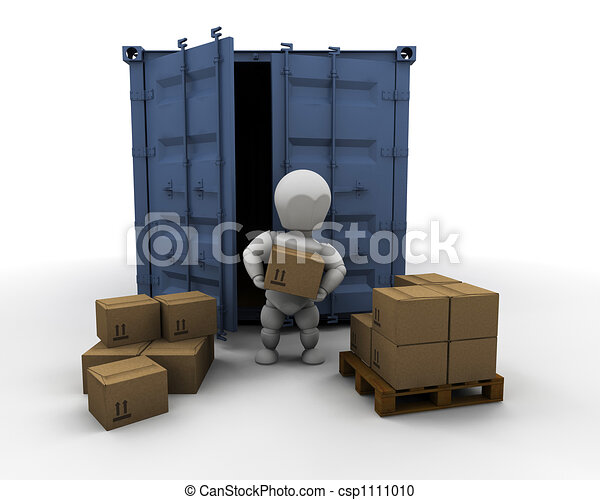 Person unloading freight container - csp1111010