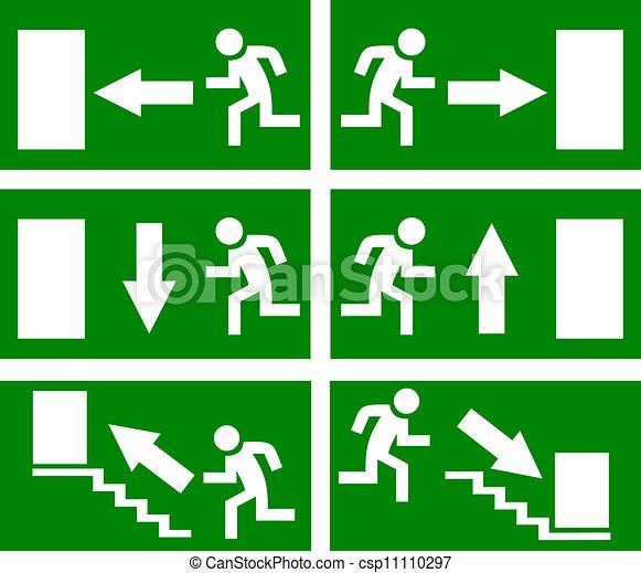 Vector emergency exit signs - csp11110297
