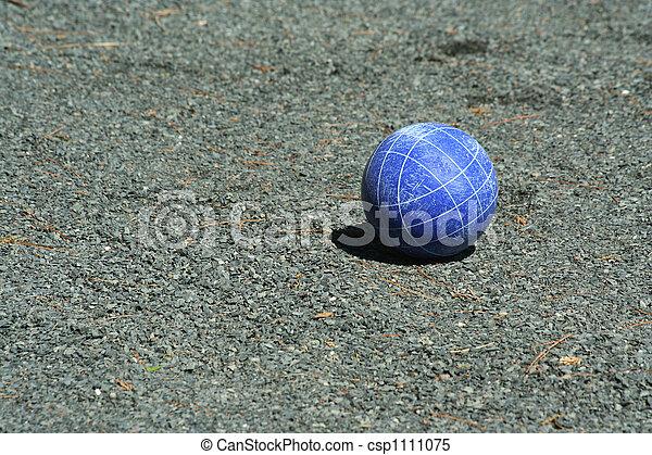 Blue bocce ball on a court - csp1111075
