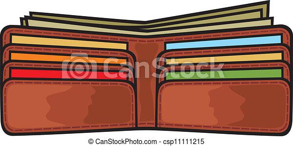 Vector Clip Art of open wallet - vector illustration of ...