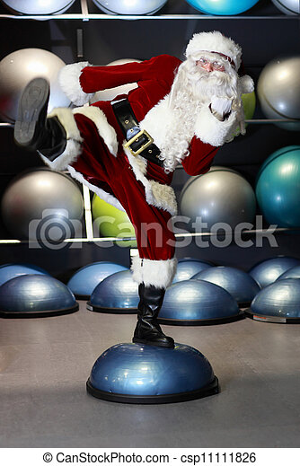 lively Santa Claus fitness training - csp11111826