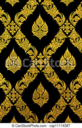 Thailand temple pattern thai mural on church wall - csp11114387