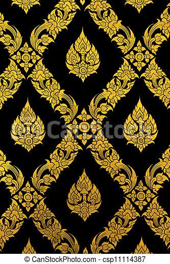 Thailand temple pattern thai mural on church wall - csp11114387