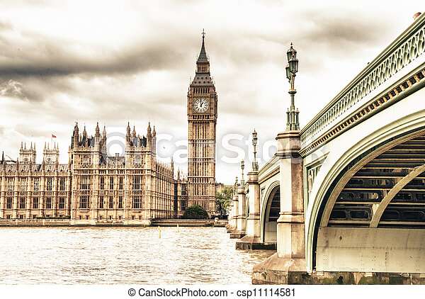 The Big Ben, the House of Parliament and the Westminster Bridge in Autumn, London, UK - csp11114581