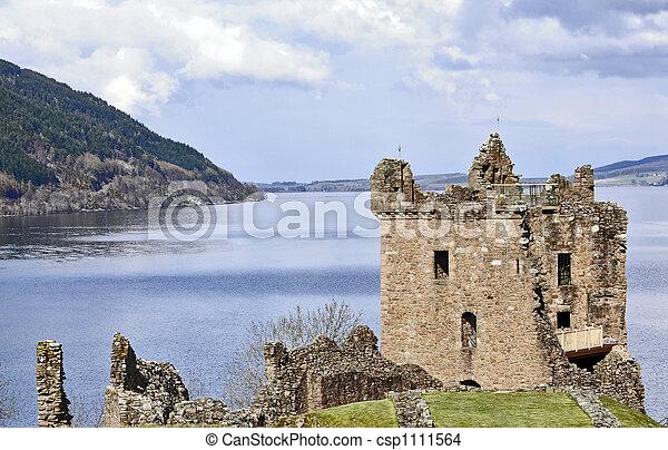 Castle Grant at Loch Ness in Scotland - csp1111564