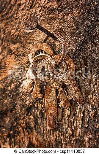 forgotten keys on an old nail - csp11118857