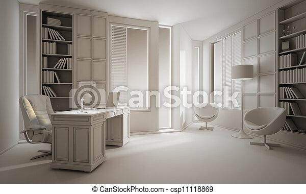 Stock illustratie van 3d klei render luxe kantoor for 3d interieur ontwerp