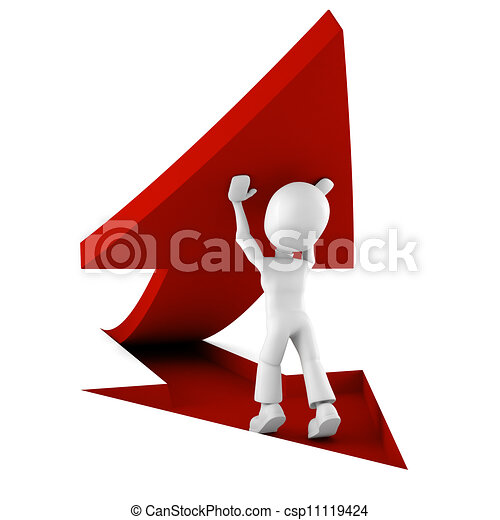 Clip art of 3d man pushing a red arrow from the ground for Disegno 3d free