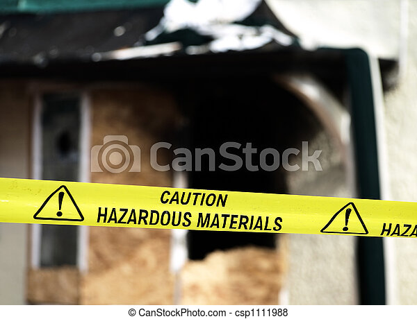 Caution Hazardous Materials Yellow Police Tape - csp1111988