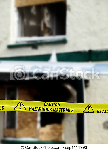 Caution Hazardous Materials Yellow Police Tape - csp1111993