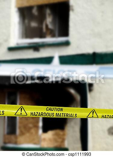 Caution Hazardous Materials Yellow Police Tape - csp1111993
