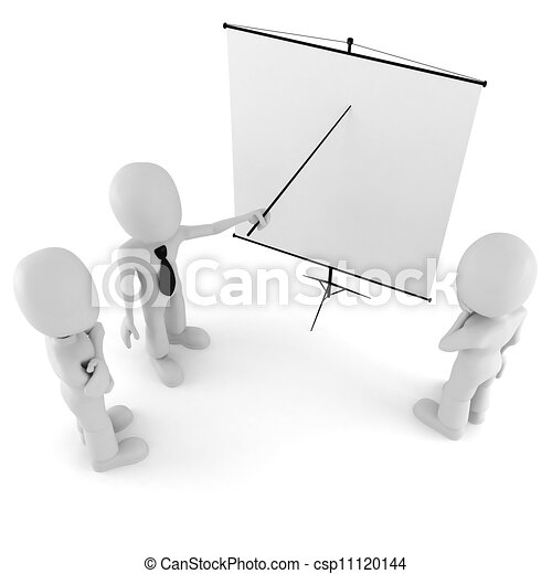 3d man, conference, standing near a blank board - csp11120144
