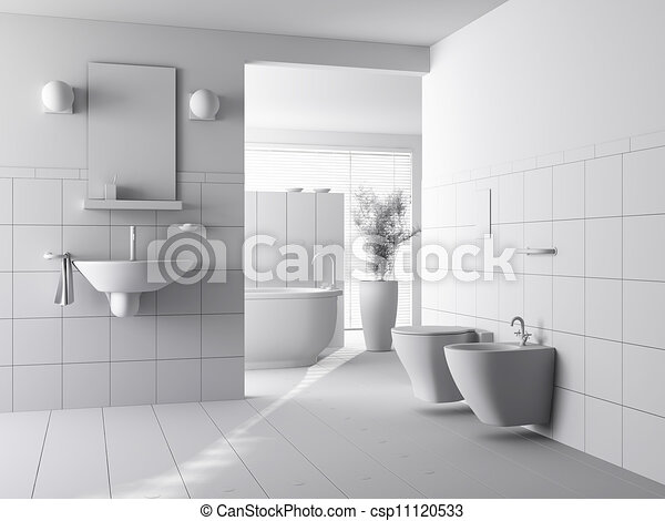 Drawings of 3d clay render of a modern bathroom interior for 3d bathroom drawing