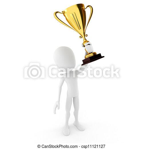 3d man winner holding a big shiny tropthy - csp11121127
