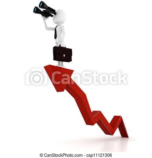 3d man business man holding a binocular searching for opportunities  - csp11121306