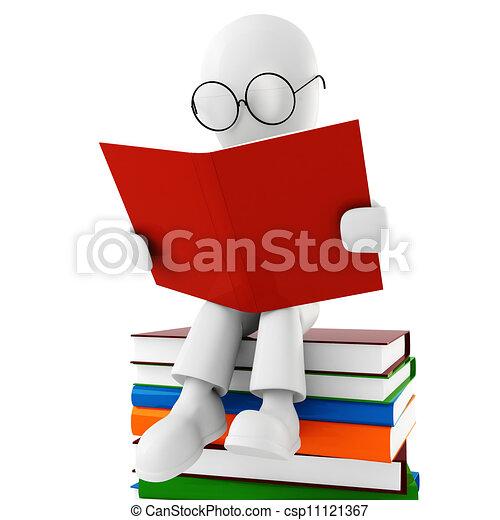3d man reading a book - csp11121367