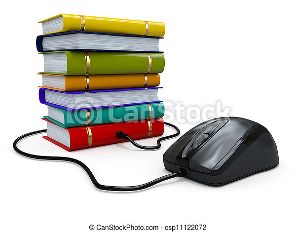Internet education. Books and computer mouse. - csp11122072