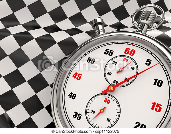 Stopwatch with checkered flag. Start or finish. - csp11122075
