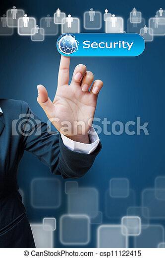 ビジネス, ボタン, 押す, 手, 感触, インターフェイス, セキュリティー, スクリーン, 女性 - csp11122415