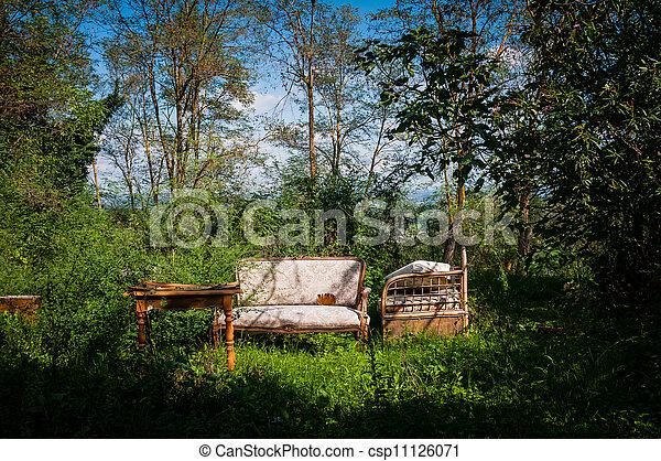 old furniture abandoned in bucolic landscape