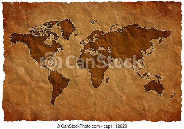 Crumple paper world map - csp1112620