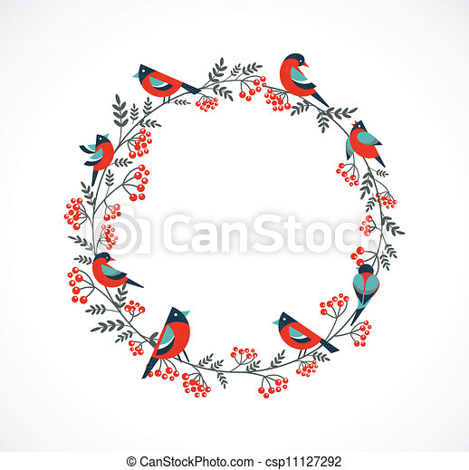 Christmas wreath with birds and ashberry - csp11127292