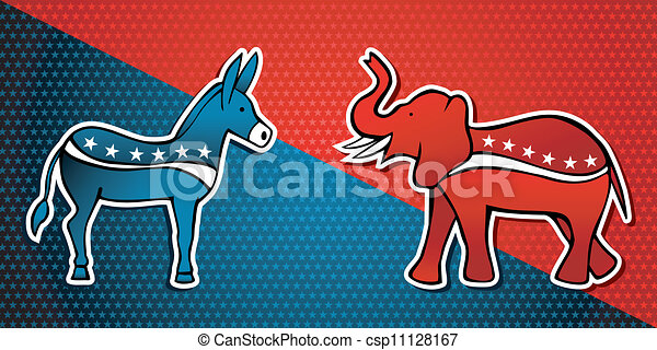 USA elections Democratic vs Republican party - csp11128167
