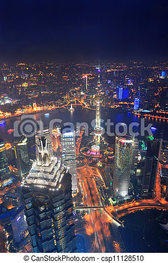 Shanghai city aerial view at night with lights and urban architecture - csp11128510