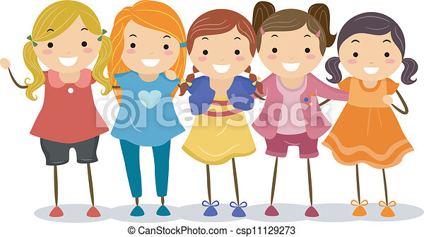 Group Girls Clipart Girl Group Csp11129273