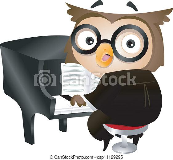 Pianist Owl - csp11129295