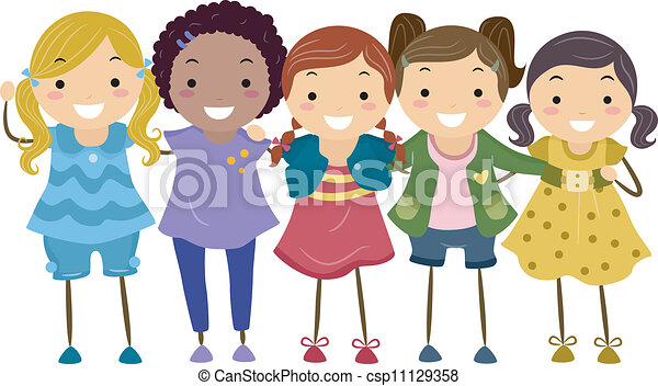 Group Girls Clipart Girl Group Clipart Vector