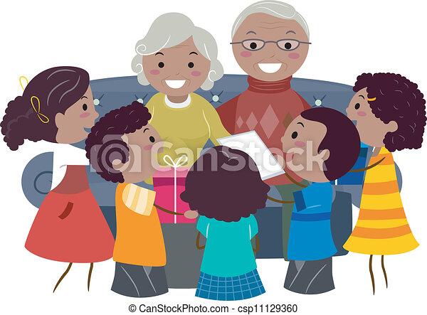 Clip Art Vector of Grandparents Presents