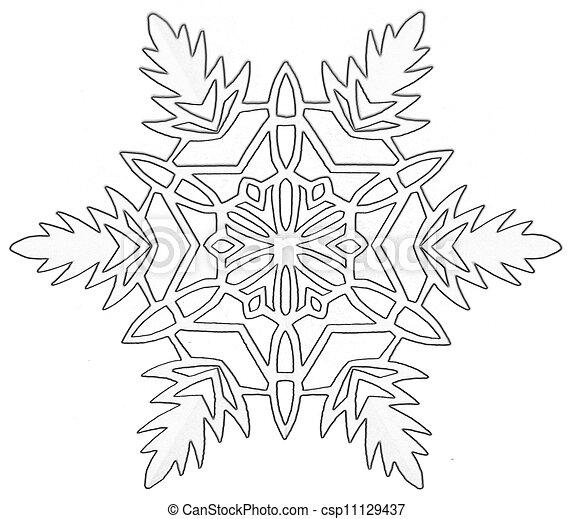Dessins de flocon de neige papier blanc coupure flocon de neige csp11129437 - Flocons de neige en papier ...