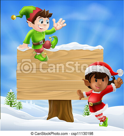 Christmas Elves and Sign - csp11130198