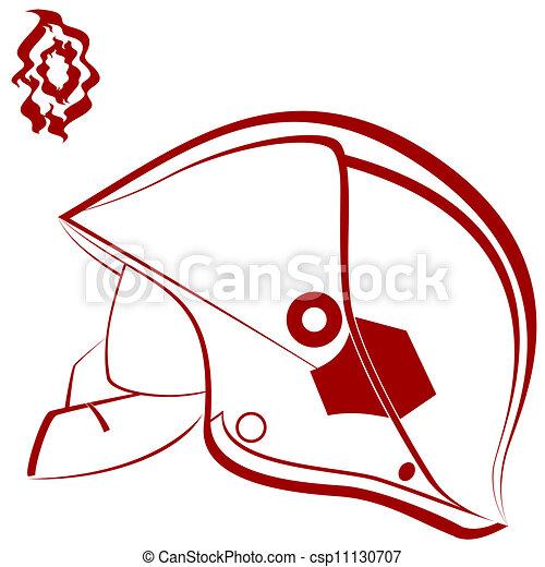 Vector Clipart of Fireman helmet - Modern helmet of the fireman ...