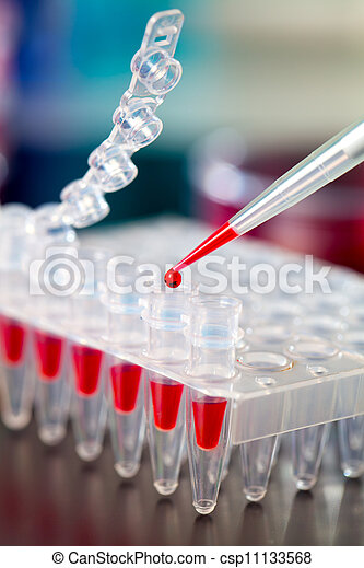 Loading of PCR samples in numbered plastic tubes - csp11133568