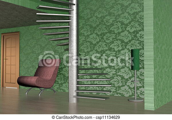 Interior of a home room. 3D image. - csp11134629